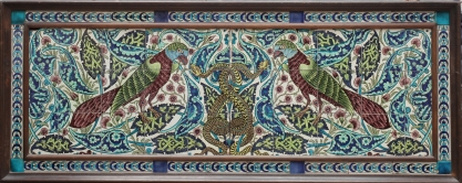 De Morgan - Parot and Snake tile panel. Courtesy of The Fine Art Society London