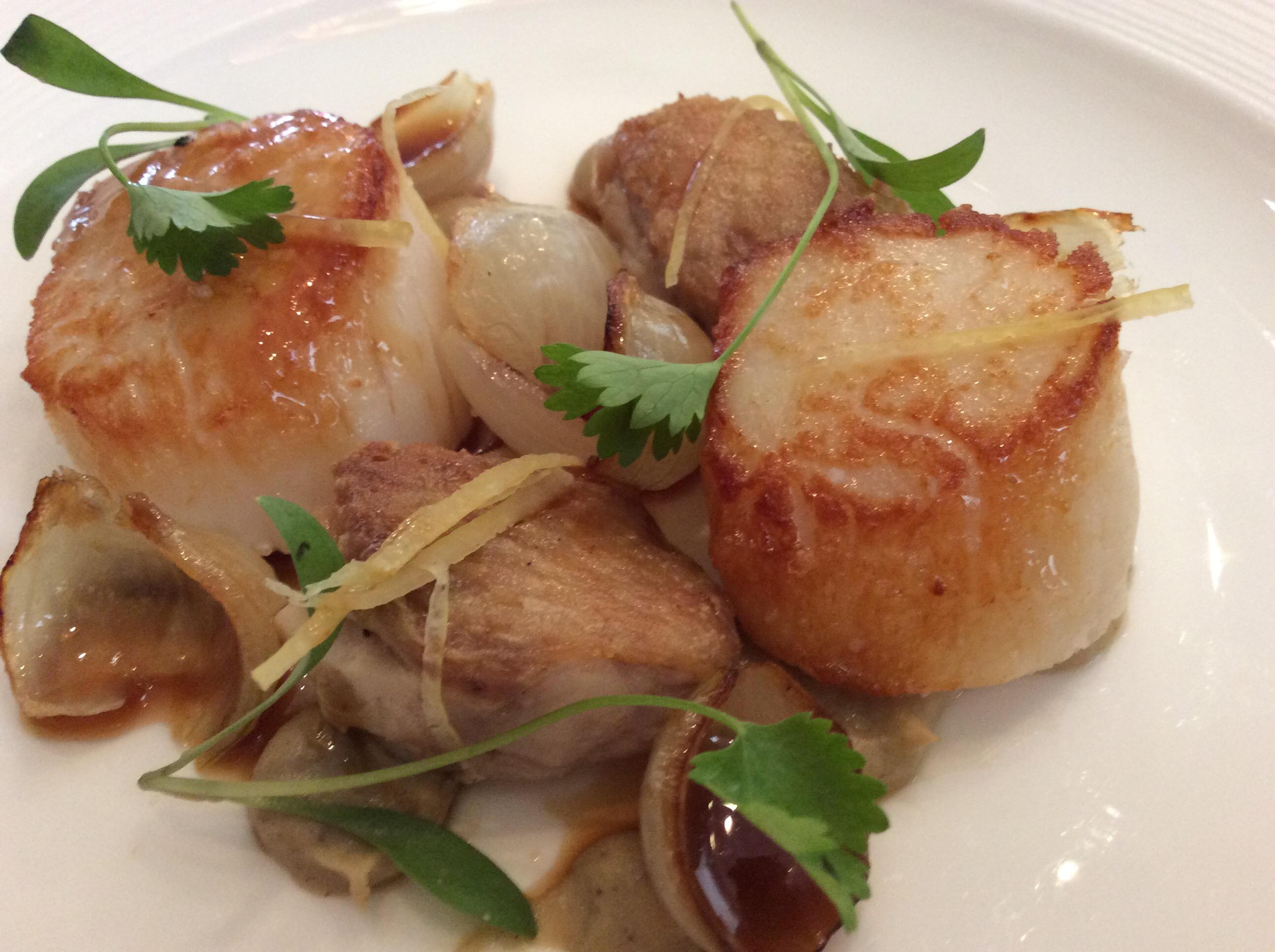 Roasted Scottish scallops, chicken wings, smoked aubergine, preserved lemon