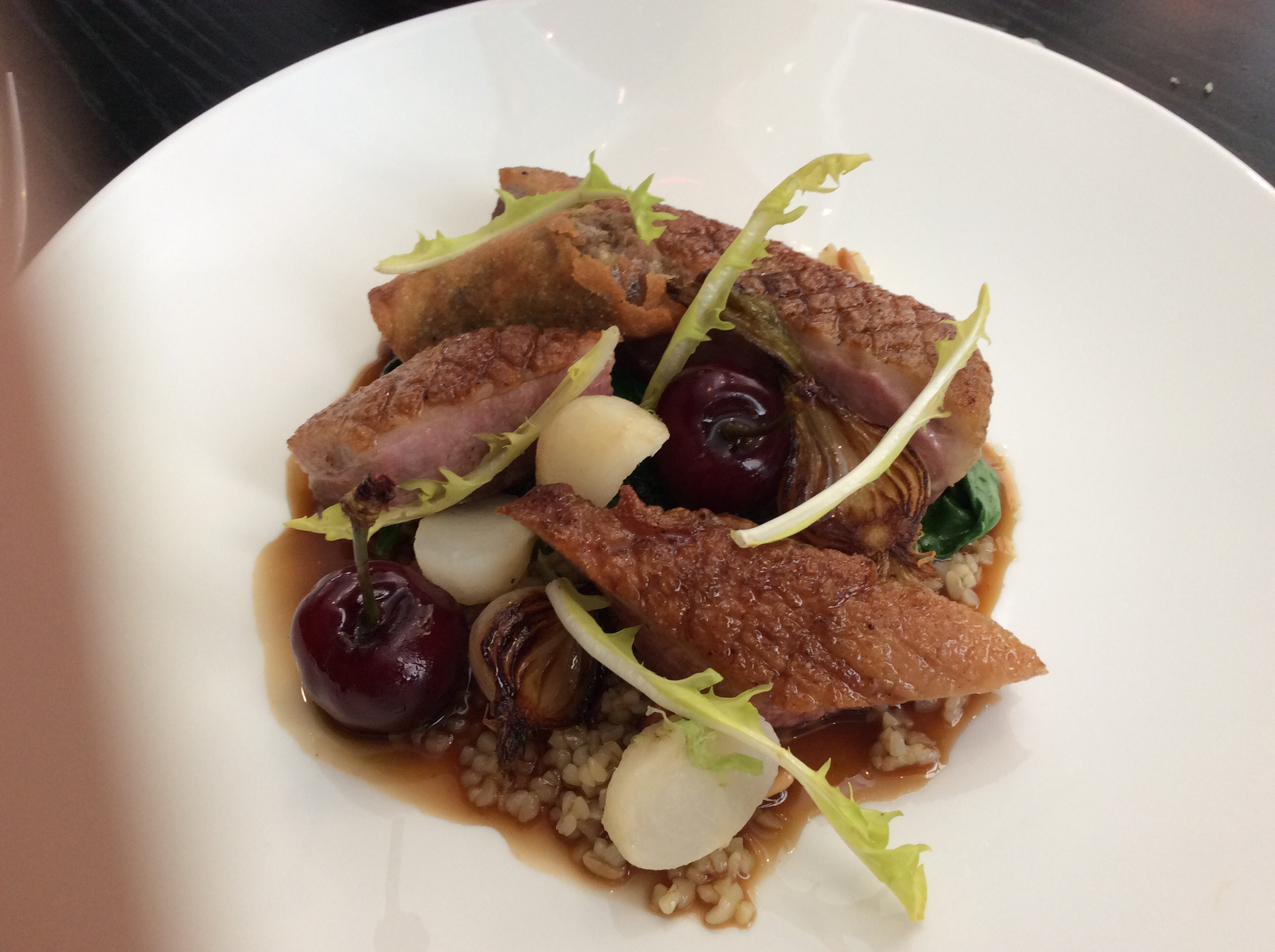Creedy Carver duck breast, cherries, turnips, bulgur wheat